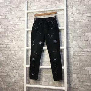 Grlfrnd Karolina Black Star Print Jeans Size 27